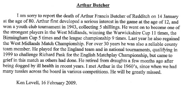 Butcher obituary